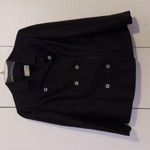 I. J. Fox Cleveland Vintage Black Suit Jacket w/ Rhinestone Buttons Size Medium